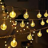 Cadena de Luces, 50 LEDs 5m Tiras bombilla Bola Redonda Decorativa Blanco Cálido de Pilas Hogar Luminoso Vida Interior&Exterior para Navidad Fiesta Casa Jardín Boda Compleaño (5M)