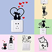 Doorbell or Laptop or Light Switch Decorated With 6 Pieces of Cat Wall Stickers