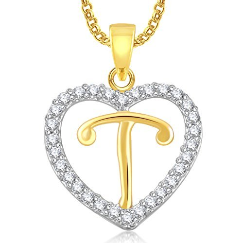 Meenaz  T  Letter Heart Pendant Locket Alphabet For Women And Men With Chain  Gold 68f838a0023