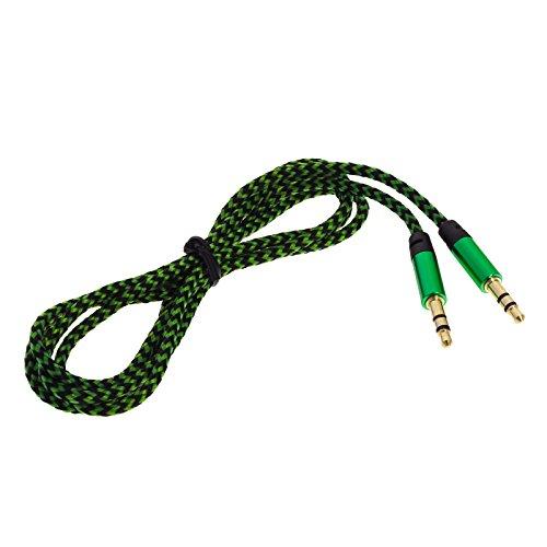 Smartfox 1m AUX 3,5mm Klinkenkabel Kabel vergoldet mit Knickschutz Stereo Audio Klinke auf Klinke für Kopfhörer iPod iPhone iPad Stereoanlage Autoradio in grün