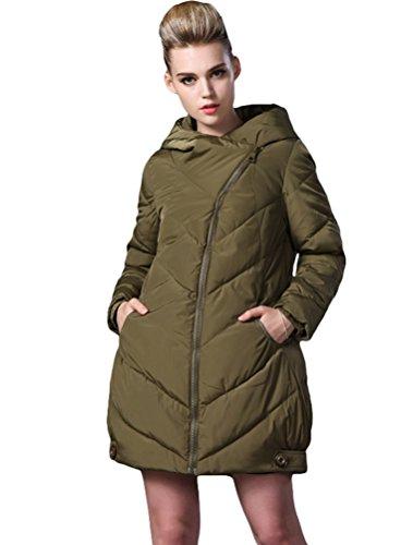 MatchLife Nouveau Femmes Zip Capuche Hiver Manteau Style3-Vert