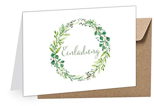 8 Klappgrußkarten EINLADUNG KRANZ GRÜN • Grußkarte zur Hochzeit Taufe Kommunion Konfirmation u.v.w. Anlässe • 8 UMSCHLÄGE BRAUN KRAFTPAPIER