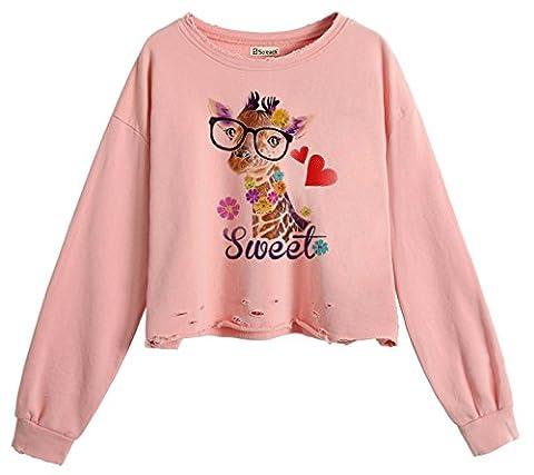 So'each Women's Sweet Giraffe Love Crop Tops Hole Pullover Midriff Sweatshirt