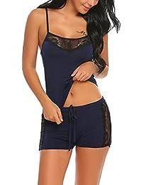 ADOME Damen Schlafanzug Nachthemd Sommer Kurz Pyjama Shorty Spitzen Nachtwäsche Negligee Set Mit Verstellbaren Trägern