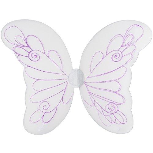 �gel in Weiß mit Lilla Glitzer Muster | inkl. Gummibändern zur Befestigung am Rücken | 62,5 x 50 cm (Weiße Feenflügel)