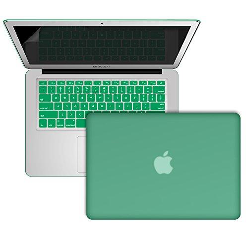 SlickBlue morbido-toccare plastica duro caso copertina e schermo protettore per MacBook Air 13 Pollici (Modello : A1369 e A1466) - Ocean Verda - Plastica Morbida Borsa