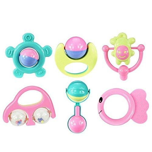 TOOGOO 6 sistemas de bebe mordedor sonajero bebe sonajero bebe recien nacido 0-1 juguetes educativos sonajero juego combinacion