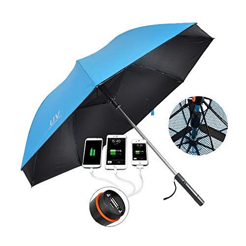 LYY Sombrilla con Ventilador, USB de Carga Mango Largo Paraguas, Vinilo Anti-UV Protector Solar a Prueba...