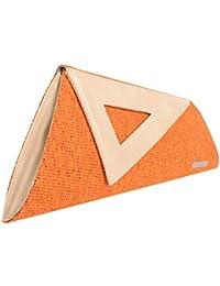 Veuza Athens Premium Jacquard And Faux Leather Tangy Orange Women's Clutch