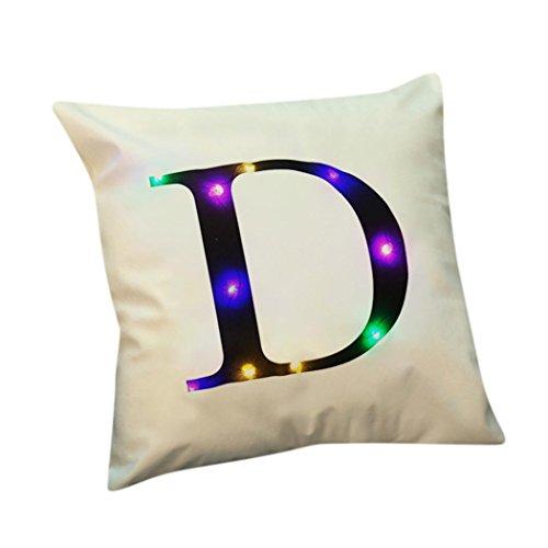 ubabamama Creative Buchstabe Druck Leinen Neue Farbe Lichter Kopfkissen LED-Lichter Weihnachtsdekoration 45,7x 45,7cm D