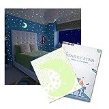 Meloive Glow in The Dark Sternenhimmel Wandaufkleber, 532 Leuchtende Sterne & 1 Mond, Fluoreszierende Abziehbilder, Decken Dekor für Schlafzimmer, Kinderzimmer oder Party