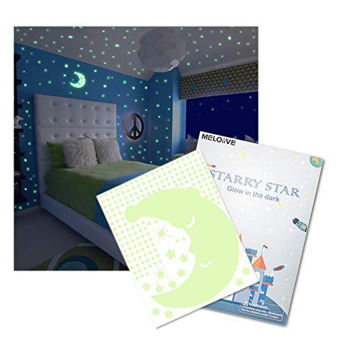 (Meloive Glow in The Dark Sternenhimmel Wandaufkleber, 532 Leuchtende Sterne & 1 Mond, Fluoreszierende Abziehbilder, Decken Dekor für Schlafzimmer, Kinderzimmer oder Party)