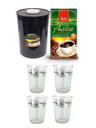 Melitta Café Auslese 500g,Melitta Melitta Cafe Auslese gemahlen - 1 x 500 g+ 4 Kaffeeglasbecher + Fresh Aroma Kaffeedose entriegel und veriegeln per einfachen Knopfdruck