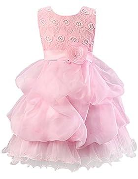 LSERVER-Abito Ragazza Bambina Floreale con rosa in Vita Vestito Elegante Dress Tutu Principessa