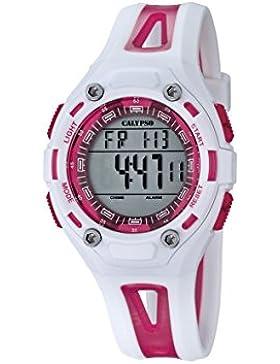 Calypso Unisex Armbanduhr Digitaluhr mit LCD Zifferblatt Digital Display und weißem Kunststoff Gurt k5666/3