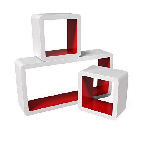 Songmics LWS92R Set di 3 Mensole a Cubo da Parete Stile Retró, MDF, Bianco e Rosso, Carico Massimo 15 kg