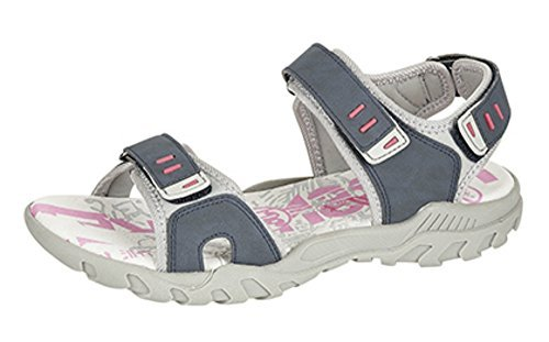 Femmes PDQ Rose Gris Aventure Randonnée Marche Sport Velcro Sandales Pointure 4 5 6 7 8 Marine/Gris