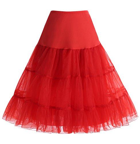 Homrain Damen 50er Vintage Petticoat Rockabilly Unterrock Mini Kleid Red L
