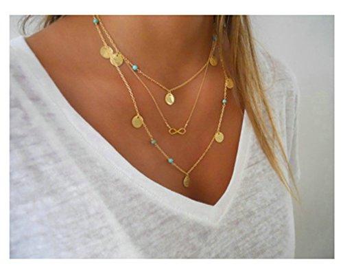Gnzoe Schmuck Damen Damenkette Kette Edle Kette Infinity Anhänger Statementkette Gold Multilayer Kette (Das Kostüm Zwillinge Glänzende)