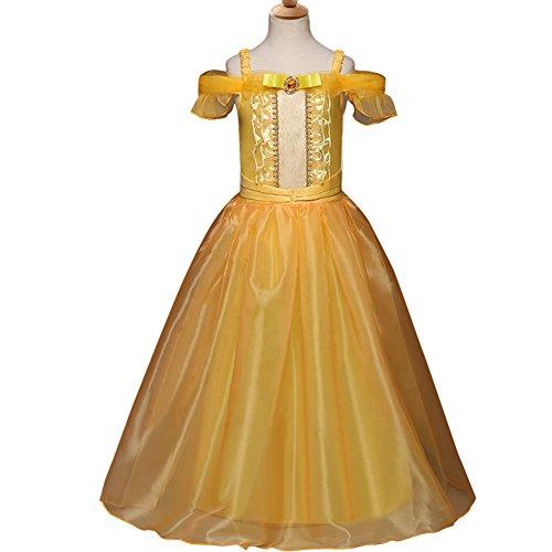 y Mädchen Prinzessin Kleid Mädchen Weihnachten Kostüm Cosplay Party 2-10 Jahre 120cm (Weihnachten Belle Kostüm)