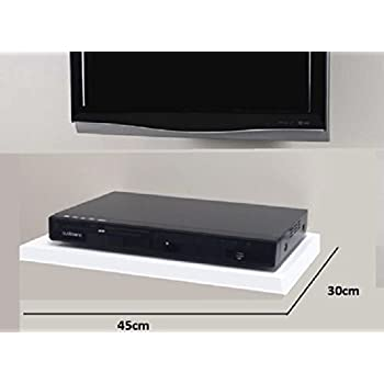 white floating media shelves shelf for dvd sky box tv electronics. Black Bedroom Furniture Sets. Home Design Ideas