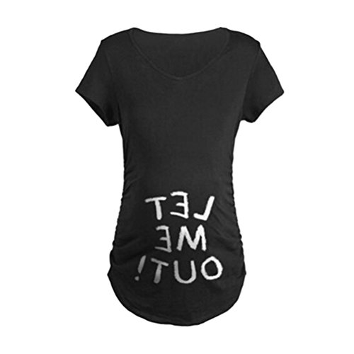 Inside Out Damen T-shirt (Zhhlaixing Mutterschaft Creative Maternity Womenswear Short Sleeve T-shirt Long Section 3 Color Choice)