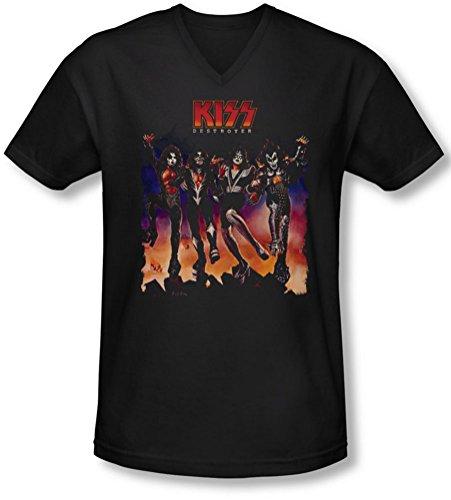 Kiss - Männer mit V-Ausschnitt T-Shirt Destroyer Abdeckung, XX-Large, Black