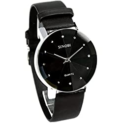 Mens Classic Style Crystal Face Faux Leather Quartz Wrist Watch Black E005