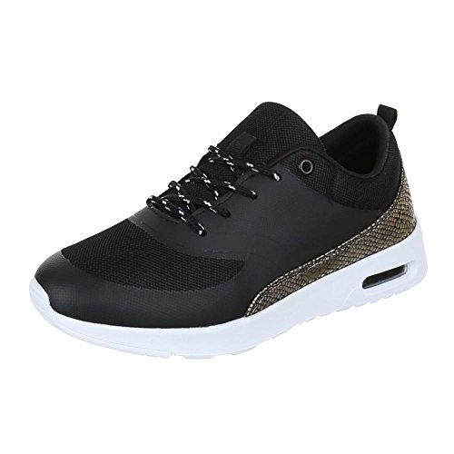 Ital-Design Damen Schuhe, H003, Freizeitschuhe Trendige Schnürer Schwarz Gold