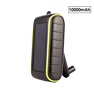 Workingda Solar Charger, 10000mAh Portable Hand Crank Phone Charger 2 USB Ports Solar Power Bank with LED Flashlight, Carabiner