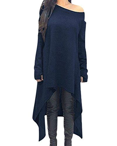 ZANZEA Damen Unregelmäßige Strick Oversize Langarm Pullikleid Longshirt Top Minikleid Dunkelblau EU 36/Etikettgröße S