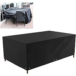 WINOMO Funda para Muebles de Jardin Exterior Impermeable Cubiertas de Mesa Protectora 213x132x74cm (negro)