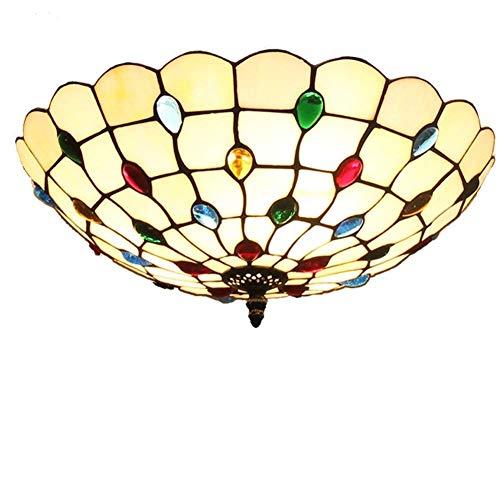 Tiffany-Lampen/Schöne Deckenleuchte im Tiffany Stil Deckenlampe Jugendstil/Farbe Glas Lampenschirm...