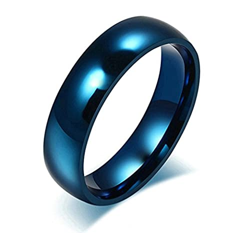 Beydodo Stainless Steel Rings (Wedding Bands) For Mens, High Polished Finished 6MM Blue Size X 1/2
