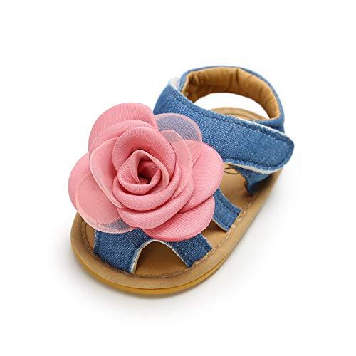 0ba82a6469e60a LACOFIA Sandali estive per neonata Scarpe da Primi Passi per Bambina con  Fiore Blu 3-