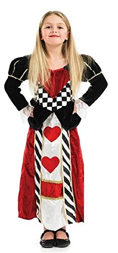 Wunderland Der Kostüm Königin Kind Herzen - Mädchen Kinder Lang Länge Königin der Herzen Alice Im Wunderland Büchertag Kostüm Kleid Outfit (6-8 Jahre)