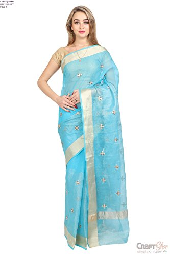 Craftghar®:Kota Saree Doria Half Tishu Comp Jhumka + Mirror Sky Blue Gold...