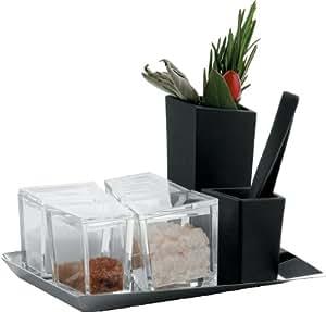 alessi gaa03 set m rser mit st el beh lter f r gew rze. Black Bedroom Furniture Sets. Home Design Ideas