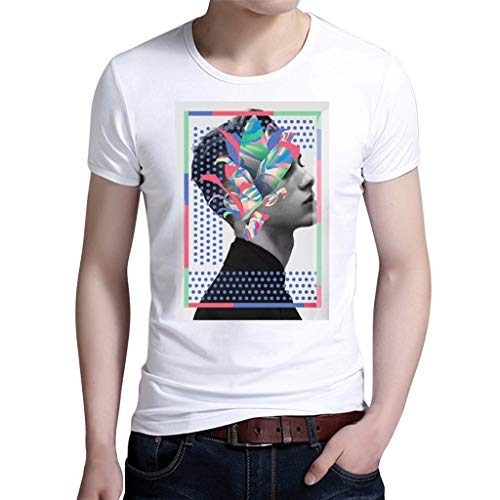 ESAILQ Herren Bedruckte Kurze Ärmel Mode Anbau Kurzarm Hemd Bluse(Large,Weiß)