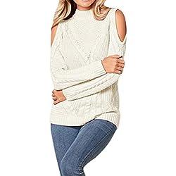 Overdose Jersey De Invierno De Manga Larga,suéter Sexy Blanco Elegante Originales Jersey Señora Cárdigan Slim Fit Mujer Abrigo Hombro Frío Originales