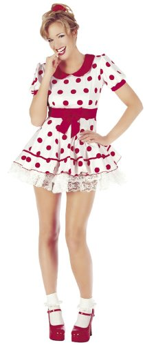 Sofias Closet Womens Girls Miss Dolly Doll Fancy Dress Costume Red White Polka Dot Mini Dress Pin Up Retro Tunic (Womens Cute Fancy Dress Kostüm)