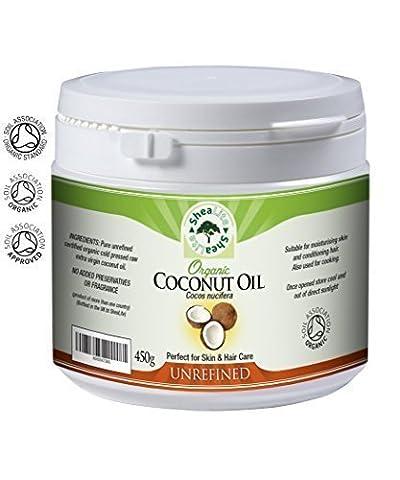 Huile Noix De Coco Organique Brut 100% Extra Vierge PresséÀ Froid, Pur, Raw & Naturel Utilisation - Parfaitement Meilleur Bénéfices Pour La Santé pour tous peau et cheveux - 450g