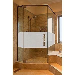 GD34 Bad Dusche Sichtschutz Aufkleber Höhe ca. 50 cm, Glasdekorfolie Duschwand Glasdekor Fensterfolie Badezimmer