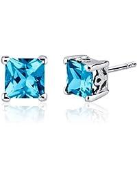 Revoni 2.50 Carats Swiss Blue Topaz Princess Cut Scroll Design Stud Earrings in Sterling Silver