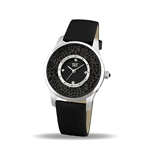 Davis 1783B - Womens Crystal Watch Black Swarovski Rhinestone Strass Black Dial Black Leather Strap