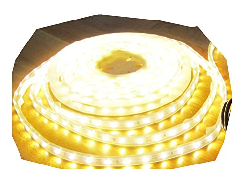 ULTRA-HIGHPOWER LED Strip Streifen Leiste SUPERHELL 5mt warmweiß warm weiss weiß, wasserdicht IP65, 300LED 24V (PRO-Serie) (ohne Netzteil), 6050Lumen von AS-S Serie Led-licht
