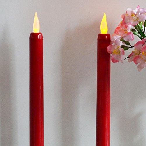 2 rojo funciona con pilas Taper velas con efecto parpadeante luz LED, 23 cm sin llama candelabros de Navidad Cena por pk verde