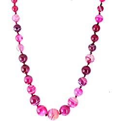 Kastiya Jewels Elegant Lehariya Pink Colored Original Agate Semi Precious Gemstone Beads Necklace Mala For Women