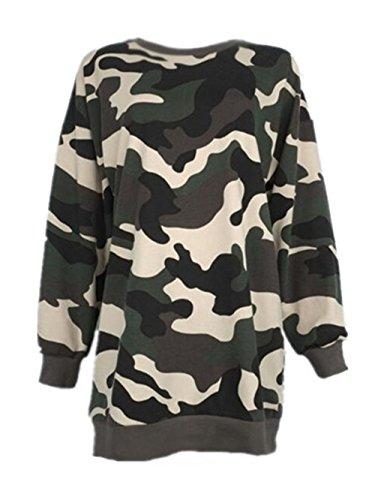 Glücklich Crewneck Sweatshirt (AILIENT Sweatshirt Damen Pullover Pullis Shirt Langarm Löcher Crewneck Sweatshirts Pulli Langarmshirt Camouflage Modisch Oberteile Sweat Lang Tops Frauen Coole Mädchen)