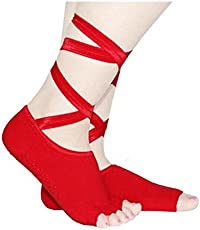 Fairyland Red Color Women Yoga and Five Toe Anti Slip Gym Dance Ladies Socks With Ribbons